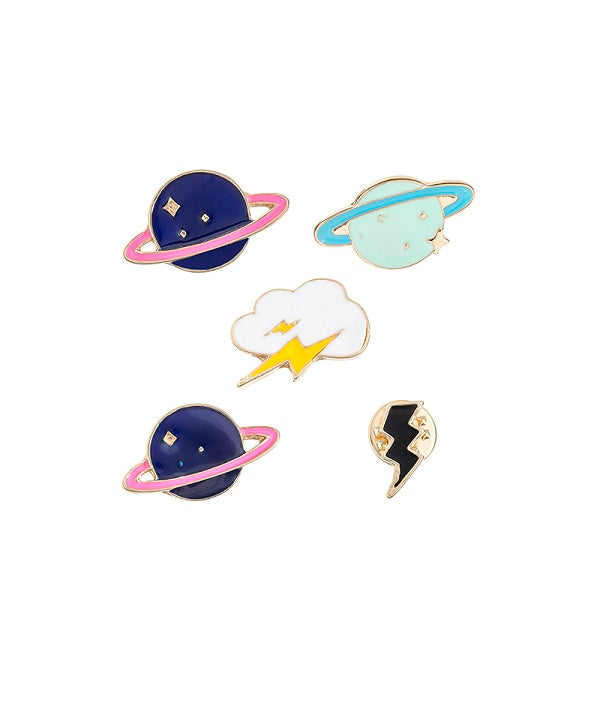 Celestial Five. Set of 5 Lapel Pins / Brooch
