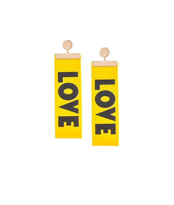 Yellow Love Dangler Earrings by FASHKA, product image.