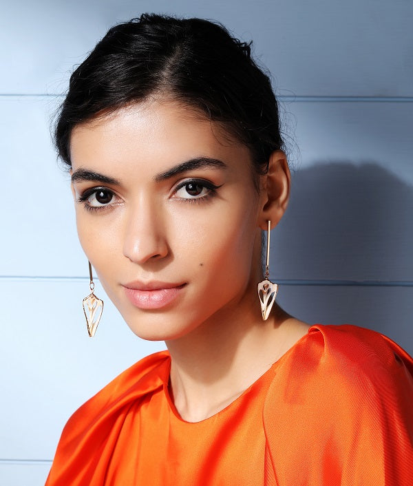 Natural Shell Slice Earrings by Fashka, model shoot.