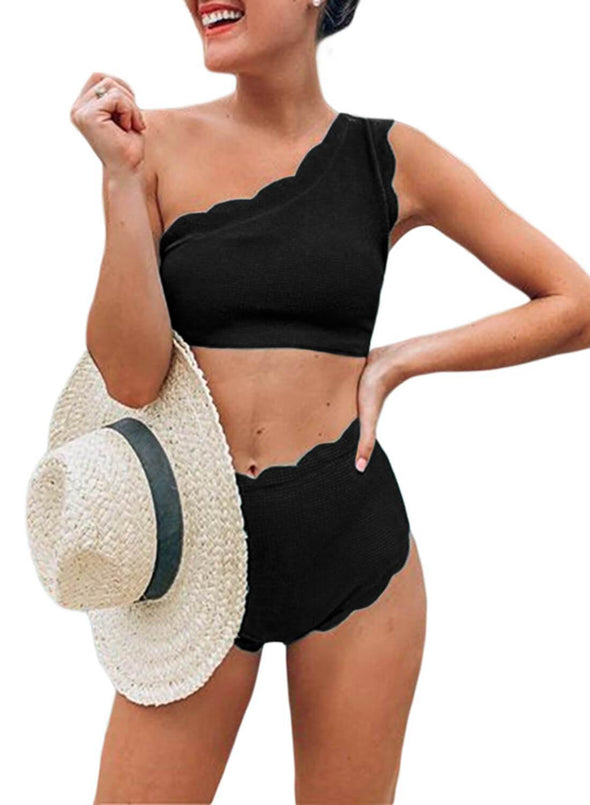 High Waist Single Shoulder Swimsuit (LC411536-2-1)