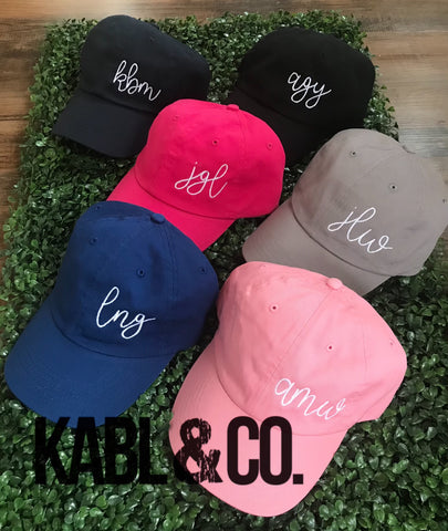 Hand lettered Monogram Ball Cap - Adult