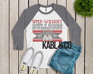 Retro UMS Wright Bulldogs (Raglan)