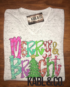 Merry & Bright VNeck - Christmas