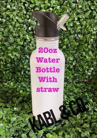 20oz. Water Bottle with Straw - Drinkware