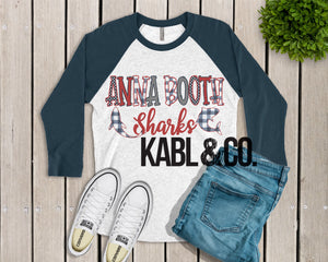 ANNA BOOTH SHARKS (Navy Raglan)
