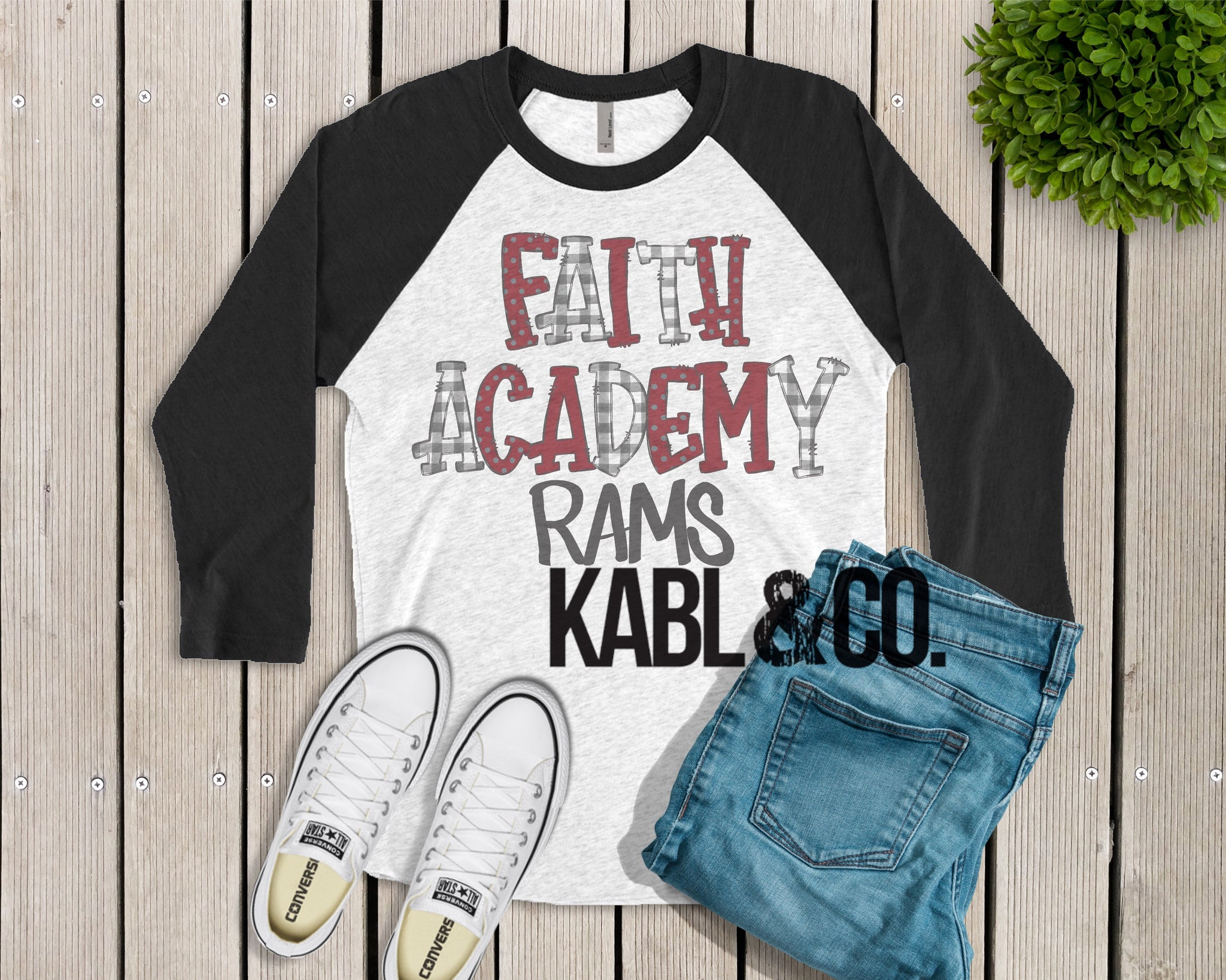 Faith Academy Rams (Black Raglan)