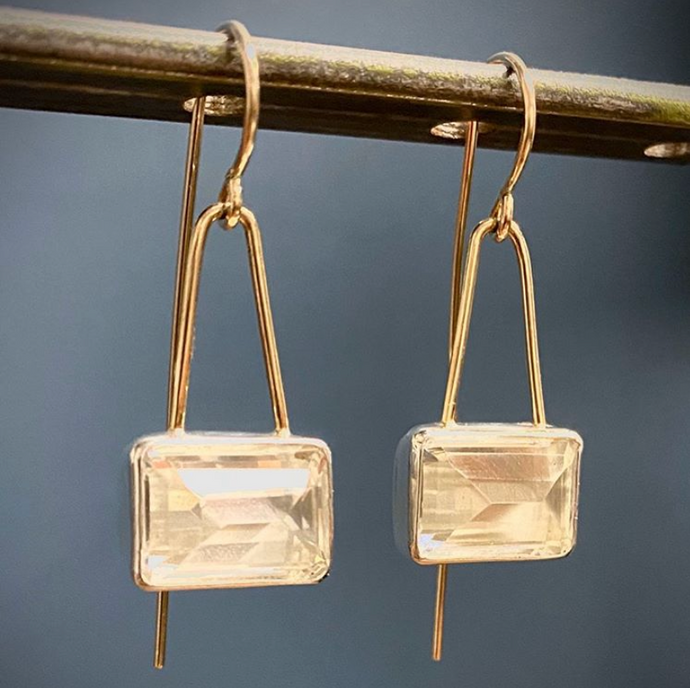 Clear Quartz two-tone earring