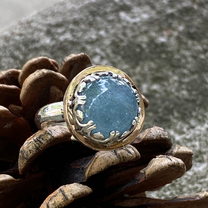 Two-tone Aquamarine, size 6.5