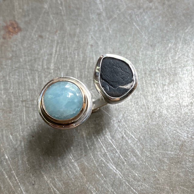 Aquamarine and Beach Stone, size 8-9