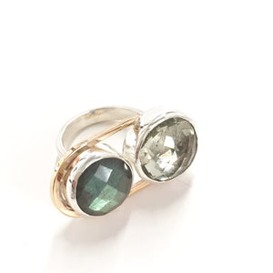 Green Amethyst and Labradorite ring, One-of-a-kind