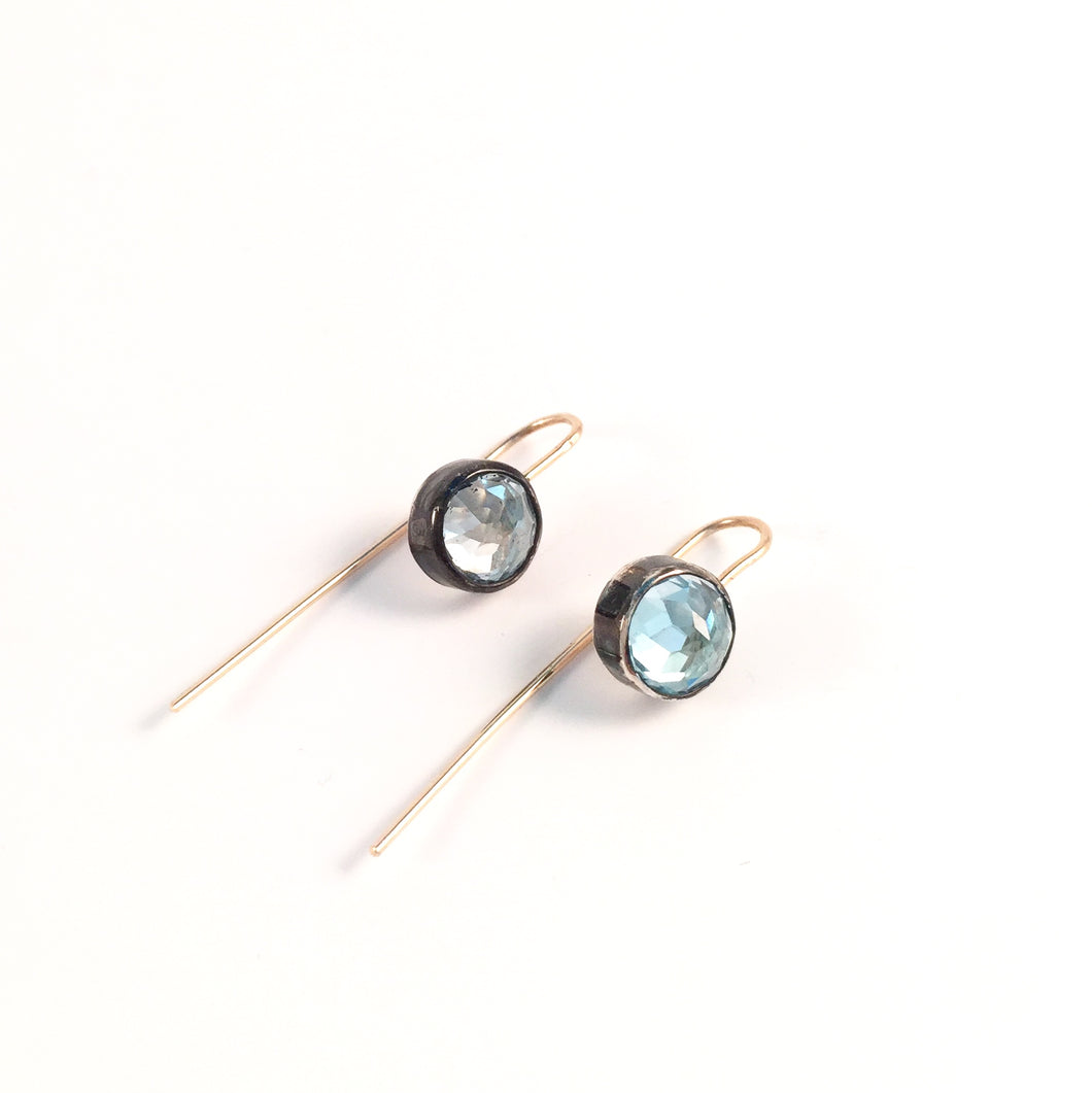 Blue Quartz Two-Tone Earrings