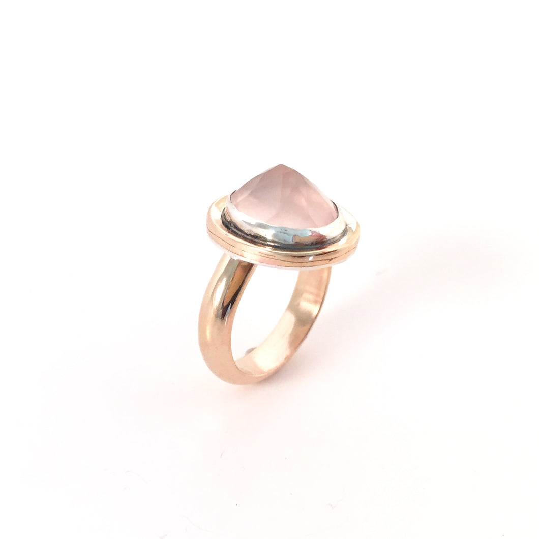 Two-Tone Rose Quartz Ring