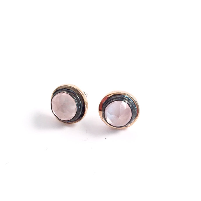 Rose Quartz two-tone studs