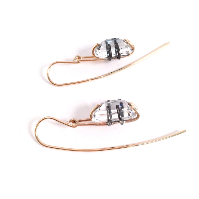 Clear Quartz Basket Earrings