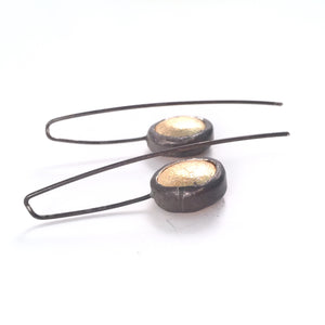 Oxidized sterling and brushed vermeil earring