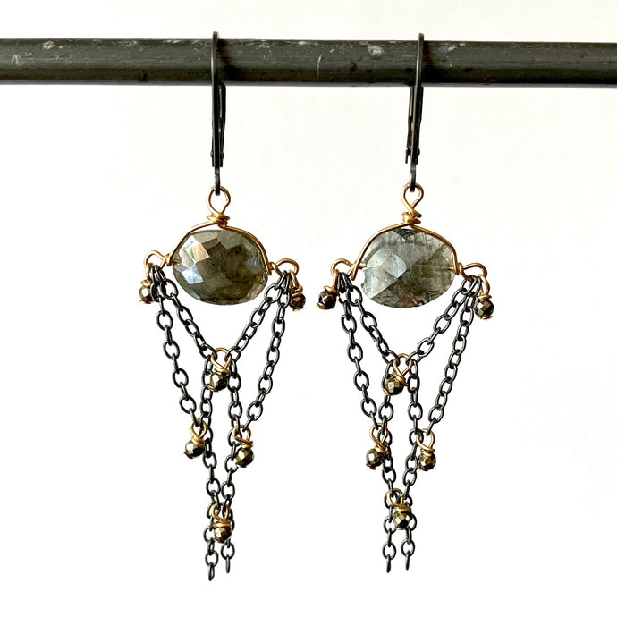 Silverite and Pyrite Chandeliers