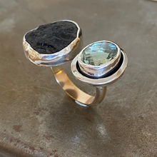 Load image into Gallery viewer, Tektite and Green Amethyst, size 7.5-8.5