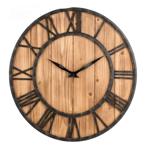 Wrought Iron, Bamboo and Wood Clock