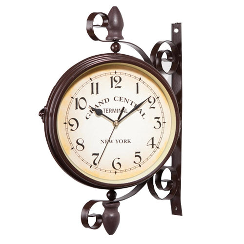 European style double sided wall clock.  Beautiful ornamental clock.  Its European appeal with add an fresh antique feel to any wall.