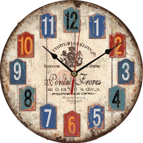 Vintage Rustic Wooden Chic style Wall Clock Large Antique Shabby Chic Rustic Kitchen Home Antique Style 30*30cm