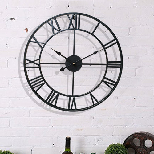 Oversized Nordic Metal Roman Numeral Wall Clock