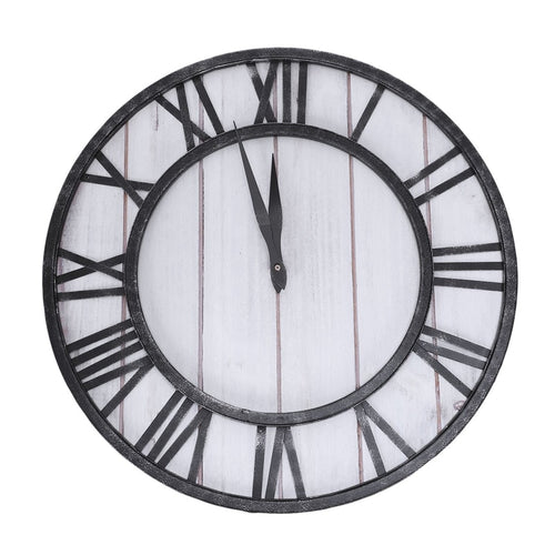 Round For Wall Clock Wrought Iron American Clock Home Living Room Silent Wall Clock
