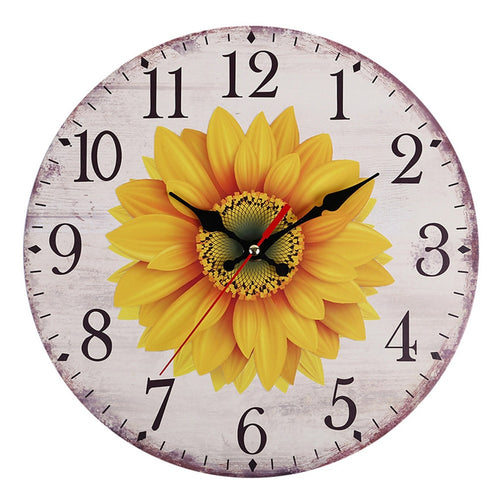 Hanging Decorative Rustic Vintage Large Wall Clock Easy Install Sunflower Battery Operated European Style Silent Non Ticking