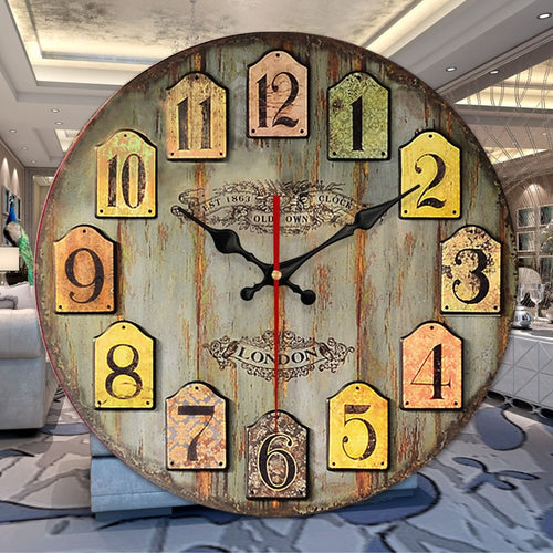 Retro Vintage Wooden Numerals Wall-mounted Large Rustic Wall Clock