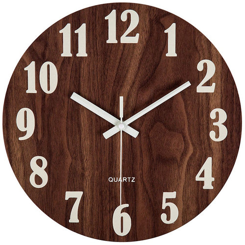 12 Inch Silent Brown Wood Clock. The perfect accent for any wall.