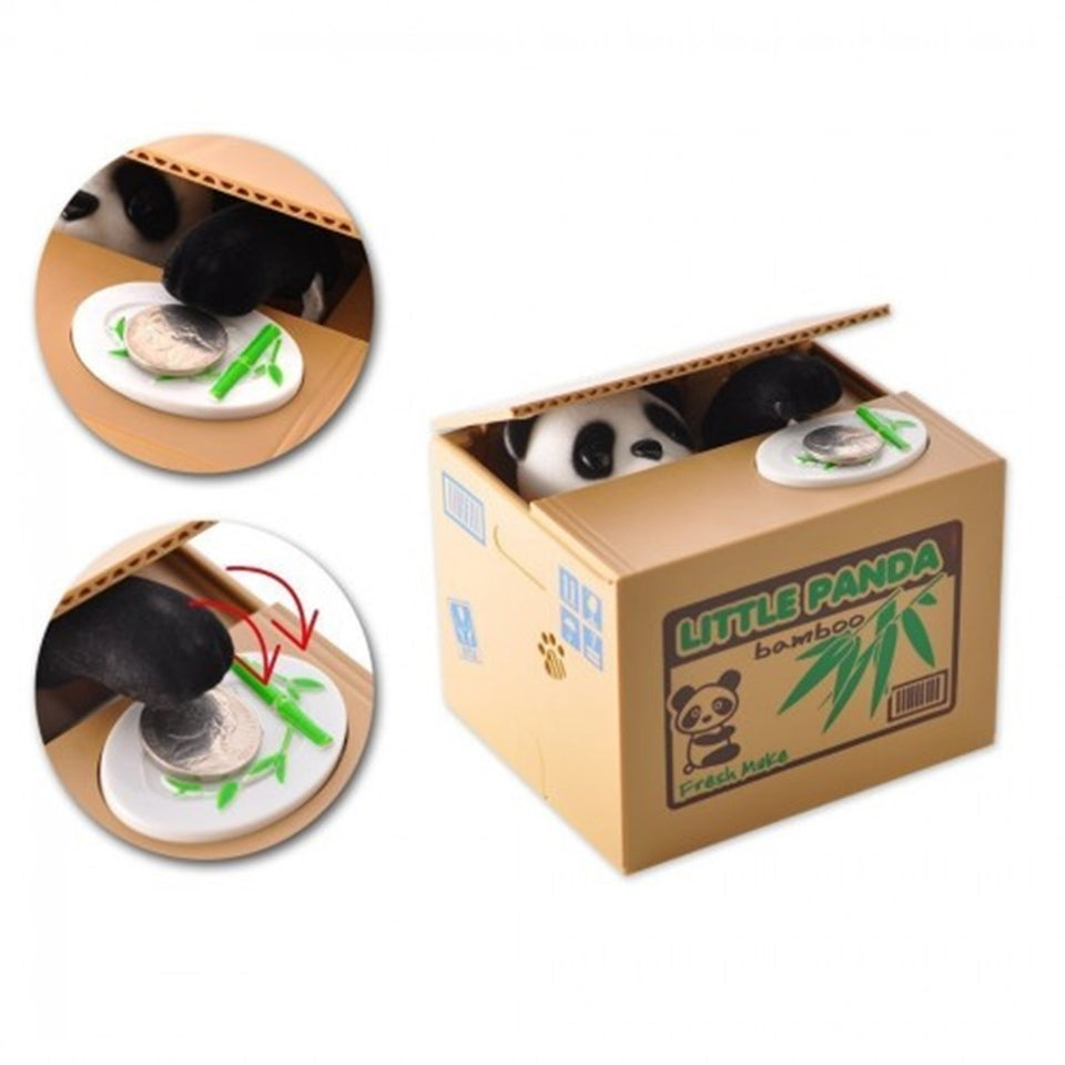 Automatic Coin Stealing Box - Panda & Cat