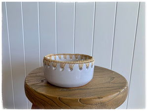 PAYA boutique - Raffia edge Ceramic bowl - White - large online at PAYA boutique