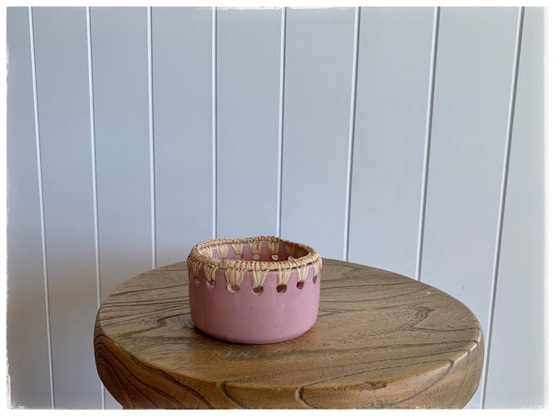PAYA boutique - Raffia edge Ceramic bowl - Dusty Rose - small online at PAYA boutique