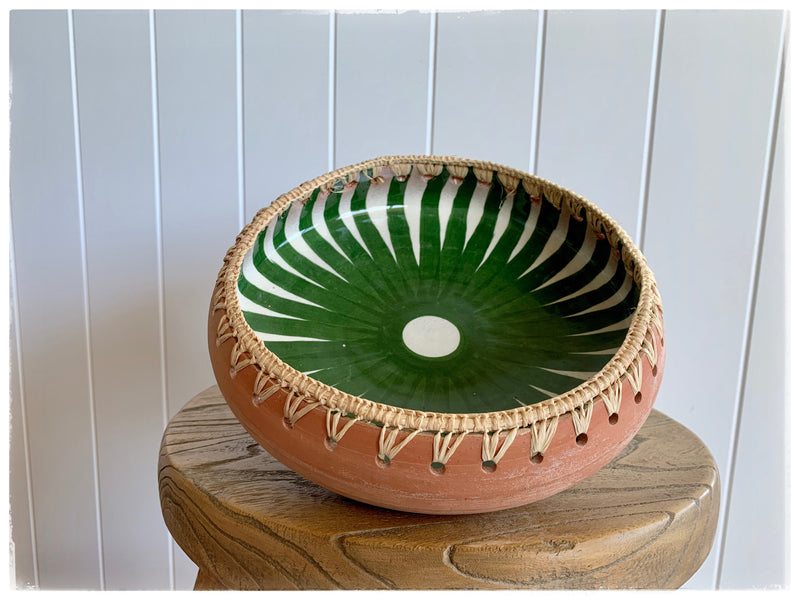 PAYA boutique - Raffia Edge Ceramic Platter - Green - Small online at PAYA boutique