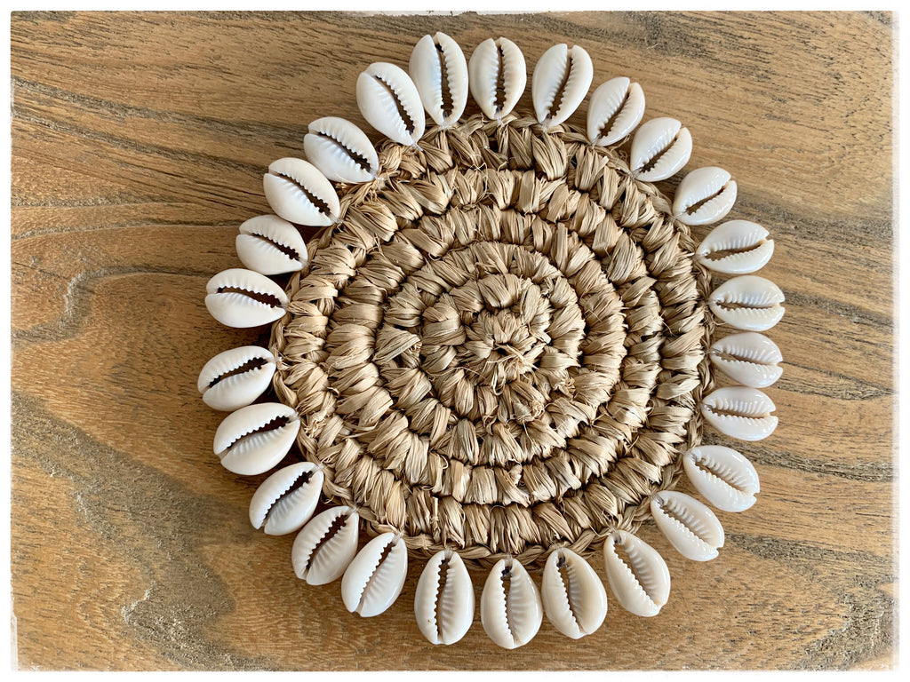 PAYA boutique - Cowrie Shell Edged Coasters - Natural online at PAYA boutique