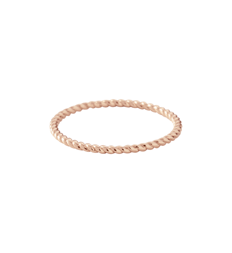 Kirstin Ash Fine Twisted Ring - Rose Gold size 8 available online at PAYA boutique