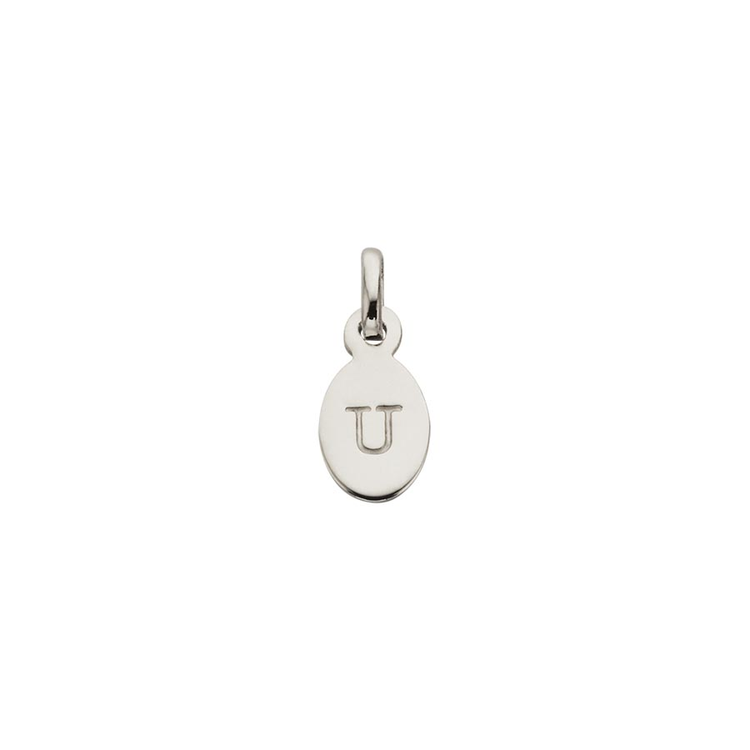 Kirstin Ash Oval Letter U Charm - Sterling Silver available online at PAYA boutique