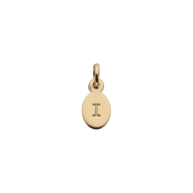 Kirstin Ash Oval Letter I Charm in Yellow Gold available online at PAYA boutique