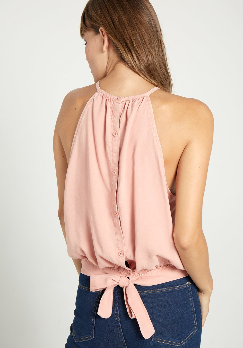 BELLA DAHL - Button Back Halter Blouse online at PAYA boutique
