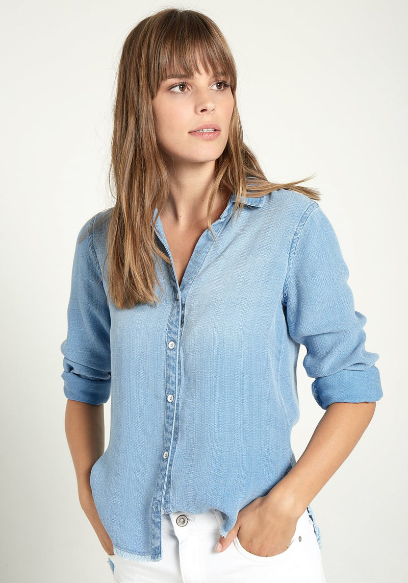 Buy Frey Hem Long Sleeve Button Down Shirt from BELLA DAHL at paya boutique