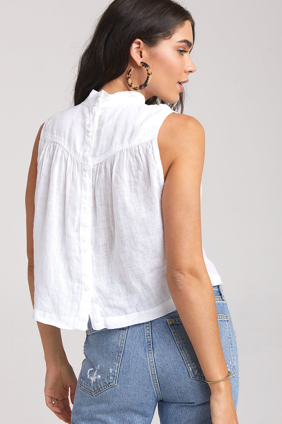 BELLA DAHL - Mock Neck Button Back Blouse online at PAYA boutique