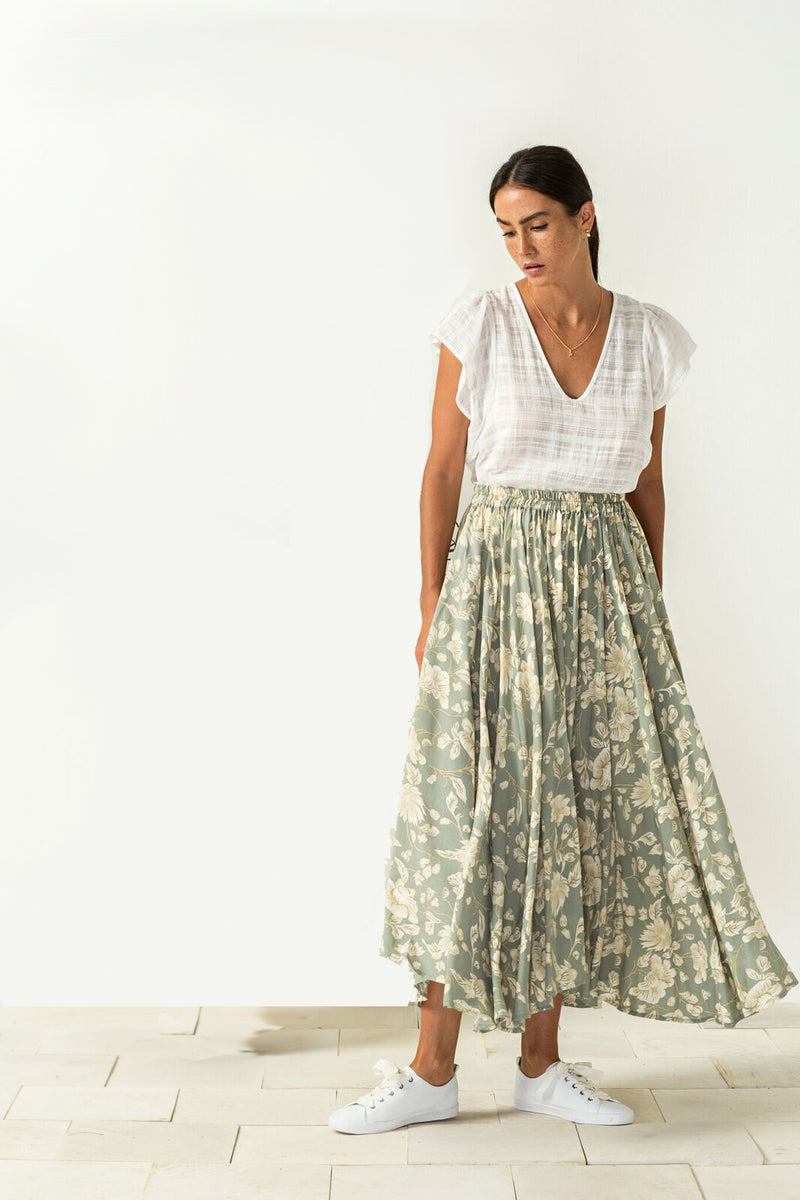 Alela Skirt in blossom sage print from Bird and Kite at PAYA boutique