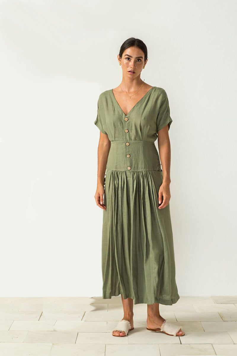 Carla Dress in sage from Bird and Kite at PAYA boutique online