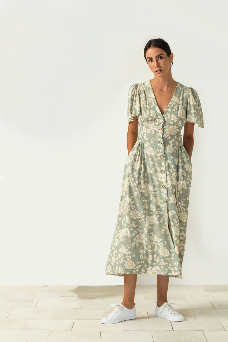 Caterina Dress in blossom sage print from Bird and Kite at PAYA boutique online