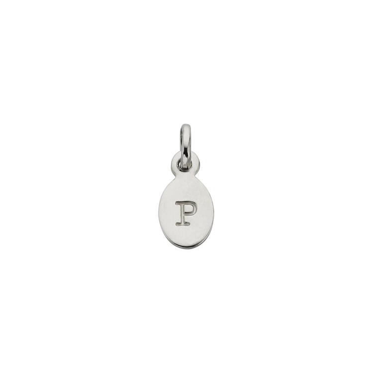 Oval letter charm - R - in sterling silver  Kirstin Ash Bespoke pieces are tailor made by the wearer using words or initials to create a piece with sentiment and meaning. The Bespoke range is beautifully delicate in size. Each piece is subtle, fine and beautiful. Create a necklace or bracelet by mixing the hand stamped letters, charms, gemstones and crystals.