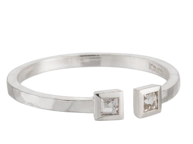 KIRSTIN ASH - Double Square Ring White Topaz - Silver online at PAYA boutique