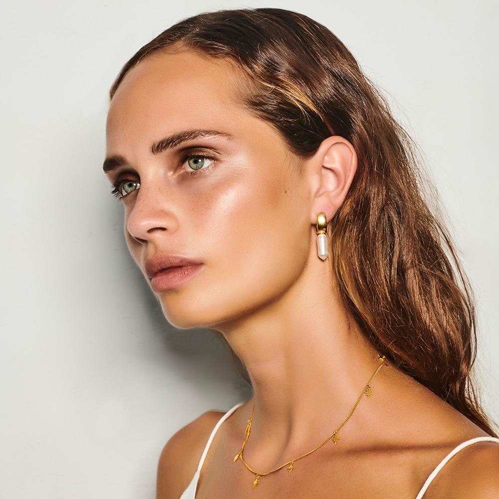 FAIRLEY - Nucleus Pearl Hoop Earrings online at PAYA boutique