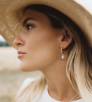 KIRSTIN ASH - Pearl Drop Hoop Earrings online at PAYA boutique
