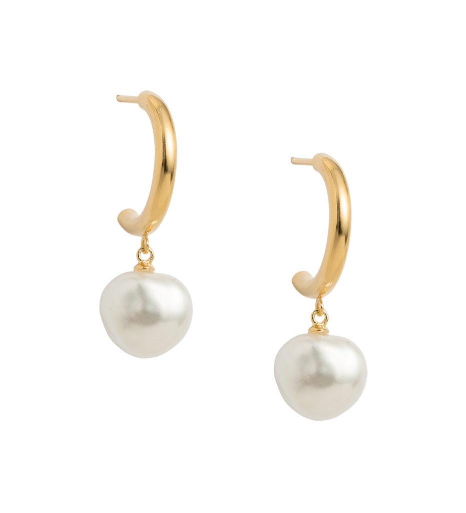 Buy Pearl Drop Hoop Earrings from KIRSTIN ASH at paya boutique