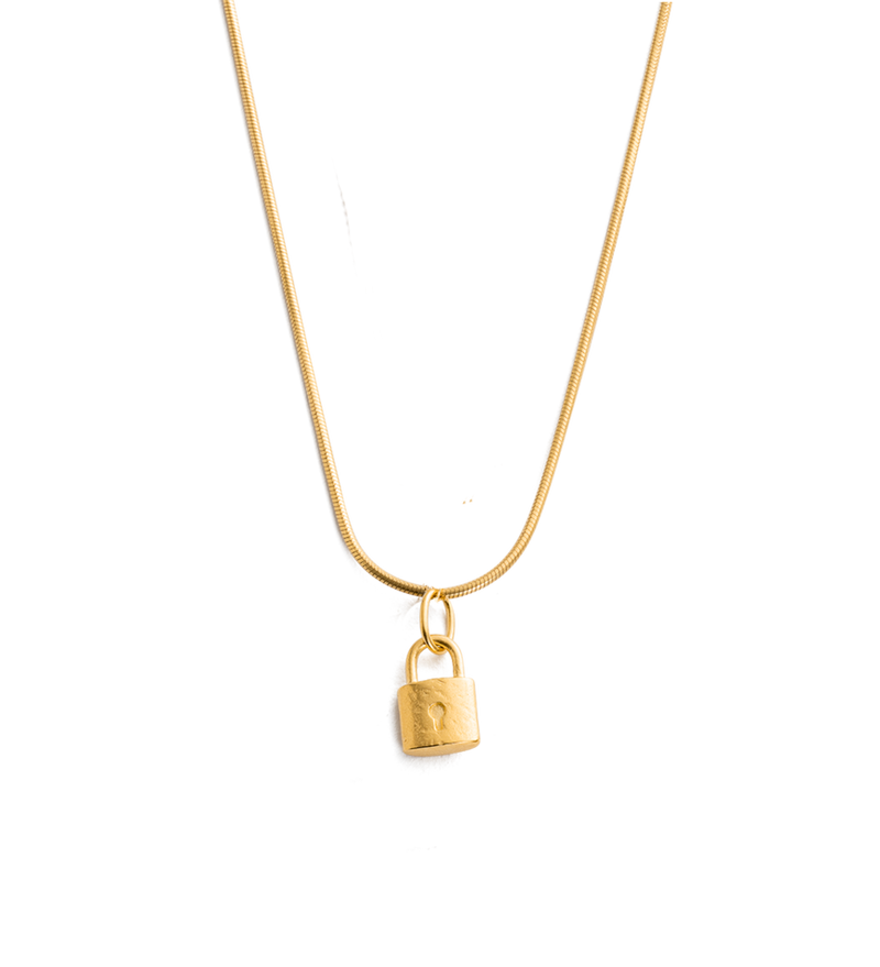 Petite Lock Necklace in gold by Kirstin Ash at PAYA Boutique online