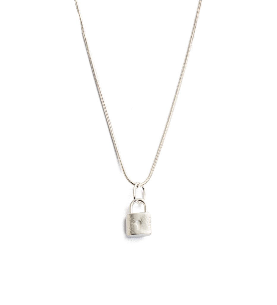 Petite Lock Necklace in silver by Kirstin Ash at PAYA Boutique online
